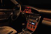 Car Interior At The Night.