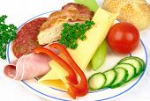 Snack plate with ham and cheese