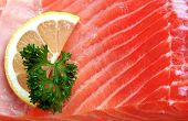 Detail of raw salmon meat