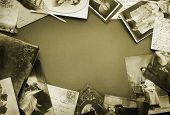 Vintage postcards and photo bordering in sepia tone