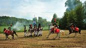 RATIBORICE, CZECH REPUBLIC - MAY 22: Imperial maneuvers - Historic reconstruction, fights in napoleo