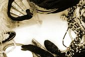 Vintage ladies accessories in sepia tone