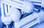 Fluorescent lamps. Light blue tint.