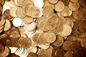 Golden coins. Great number of russian coins. Soft focus effect.