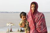 Mother and son In Varanasi