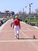 picture of burlington  - An lady is going for a walk on the promenade in Burlington on lake  Ontario on a beautiful sunny day.   - JPG