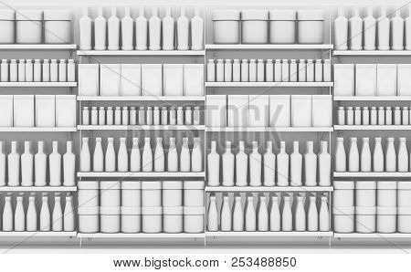 Supermarket Shelf With Generic Products