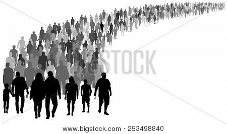 Crowd Of People Silhouette Vector