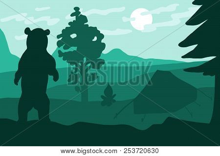 Standing Wild Bear In Camping