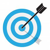 The Arrow Hits The Target. Target Icon On White Background. Flat Style. Blue Target Icon For Your We poster