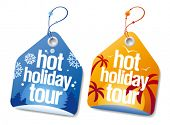 Hot holiday tour labels set.