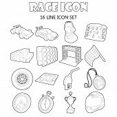 Race Icons Set In Outline Style. Car Racing Set Collection Illustration poster