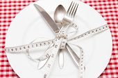 Weight Loss Weight Loss Concept Diet Empty Plate With A Tape Measure And Cutlery poster