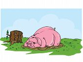 stock photo of wallow  - Cartoon pig wallowing in the mud - JPG