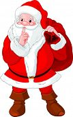 Illustration of Santa Claus gesturing shush