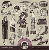 vector set: ladies fashion and accessories of the golden 20s