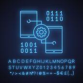 Smartphone Settings Neon Light Icon. App Development. Phones With Cogwheel And Binary Code. Glowing  poster