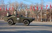 SAMARA, RUSSIA - NOVEMBER 7: Reconnaissance/Patrol Vehicle BRDM-1 exhibited at the Parade on Novembe