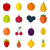 Flat Fruit Icons Set. Universal Fruit Icons To Use For Web And Mobile Ui, Set Of Basic Fruit Element poster