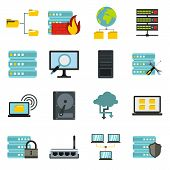 Flat Big Data Icons Set. Universal Big Data Icons To Use For Web And Mobile Ui, Set Of Basic Big Dat poster