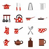 Flat Kitchen Tools Icons Set. Universal Kitchen Tools Icons To Use For Web And Mobile Ui, Set Of Bas poster