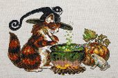 Cross-stitch Embroidery With Cat In Hat, Cauldron, Toad, Bonfire And Pumpkin.part Art On Mouline Thr poster