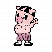 Pig In Cartoon Style. Cute Cartoon Pig Illustration. Cartoon Baby Pig Isolated On White Background.  poster