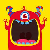 Funny Red One Eyed Horned Cartoon Monster. Funny  Monster With Mouth Opened Wide. Halloween Vector I poster