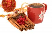 Christmas Tree Bauble Ornament,  Star Decoration, Cinnamon And Cup Of Coffe