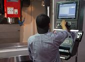 Industrial Worker Input Data Programing For Cnc Milling Machine poster