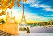 Eiffel Tower From Trocadero Garden At Autumn Sunrise, Paris, France, Retro Toned poster