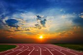 Athlete Track Or Running Track With Nice Scenic poster