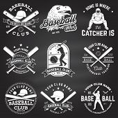 Set Of Baseball Or Softball Club Badge On The Chalkboard. Vector. Concept For Shirt Or Logo, Print,  poster