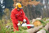 foto of chainsaw  - Lumberjack Worker in protective safety work wear With Chainsaw at Forest - JPG