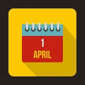 April 1, April Fools Day Calendar Icon In Flat Style On A Yellow Background poster