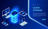 Isometric Flat Cloud Hosting Network Vector Illustration. Online Computing Storage 3d Isometric Conc poster
