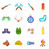 Hunting Icons Set In Cartoon Style. Hunters Equipment Set Collection Illustration poster