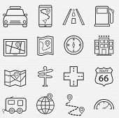 Road Trip, Travel And Navigation Line Icon Set poster
