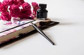Old Ink Pen And Ink Bottle On White Background. Vintage Calligraphy Pen And Bottle Of Ink With Red F poster
