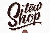 Vector Volumetric Lettering - Tea Shop. Hand Drawn Embossed Card With Modern Brush Calligraphy. Isol poster
