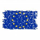European Union Flag Texture Grunge Isolated On White Background. Vector European Flag, Eu Official S poster