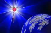 Heart Of The Cross With Divine Light
