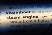 Steam Engine Word In A Dictionary. Steam Engine Concept. poster