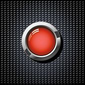 Vector glossy button on carbon texture background