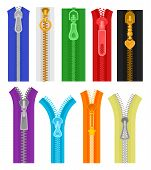 Flat Vector Set Of Colorful Zippers For Clothes And Bags. Closed And Open Zip Fasteners. Sewing Mate poster