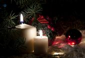 Night scene of candles with fir