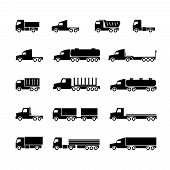 Truck Silhouette Icons. Shipping, Cargo Trukcs, Dumpers And Van. Transportation Vector Symbols. Tran poster