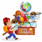 Little Boy Doing School Shopping Smiling Schoolboy Making Purchases In Stationary Store Vector Illus poster