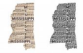 Sketch Mississippi (united States Of America) Letter Text Map, Mississippi Map - In The Shape Of The poster
