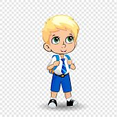 Cute Little Blonde Schoolboy Big Green Anime Eyes Wearing Uniform With Backpack Isolated On Transpar poster